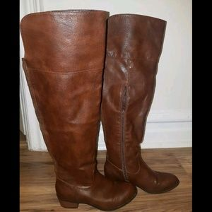 Justfab scoutt knee high brown boot with zipper